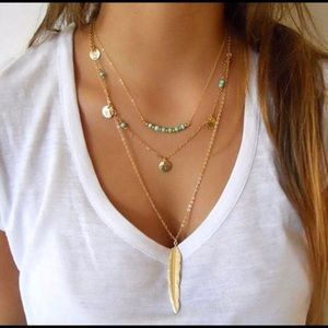 3  Layer Feather Necklace in Gold